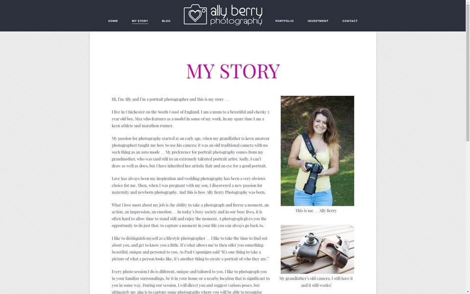 Ally Berry Website Screenshot 2